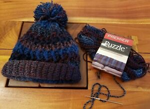 Hat Only Chunky Wool Navy Blue Crochet Pom Pom Hat  Chunky Hand knit Jumbo Pom Pom Hat  Warm Knitted Hat
