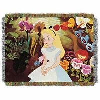 Disney Alice In Wonderland Alice In The Garden Tapestry Throw, 46 By 60, New, F on sale