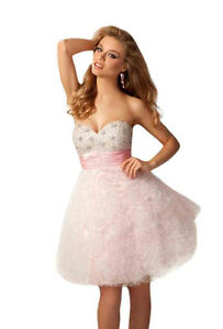 Posh-Romantic-Sexy-Strapless-Short-Beaded-Evening-Gown-Prom-Dress-Pink-amp-White