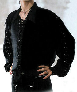 Men-039-s-Black-Punk-Goth-Pirate-Lace-Up-Eyelets-Shirt-M