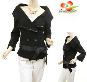 Women Black Sequin Ribbon Tie Double Breasted Wool Victorian Suits Blazer Jacket