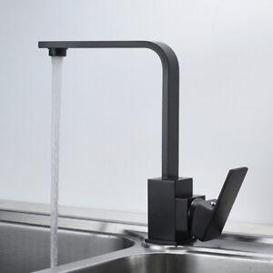 Detalles de Grifo de fregadero de cocina de diseño Grifo Giratorio Negro  Nuevo DHL