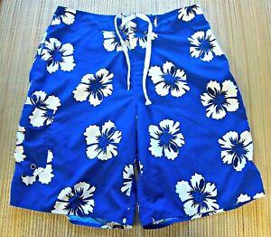 First-Wave-Roundtree-amp-Yorke-mens-size-34-board-short-blue-w-Hawaiian-flowers
