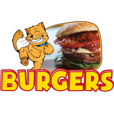 Burgers Concession Decal Sign Cart Trailer Stand Sticker Equipment