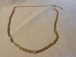"Vintage 2 Strand Gold Tone Metal Link Chain Necklace 42"" Long With Rhinestones"