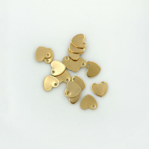 MT410 Heart Stamping Blanks 5 Tags Gold Tone Stainless Steel 9mm x 10mm