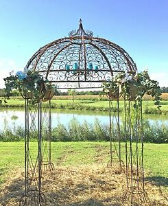 Image Is Loading Wrought Iron Round Flower Arbor Garden Gazebo Trellis