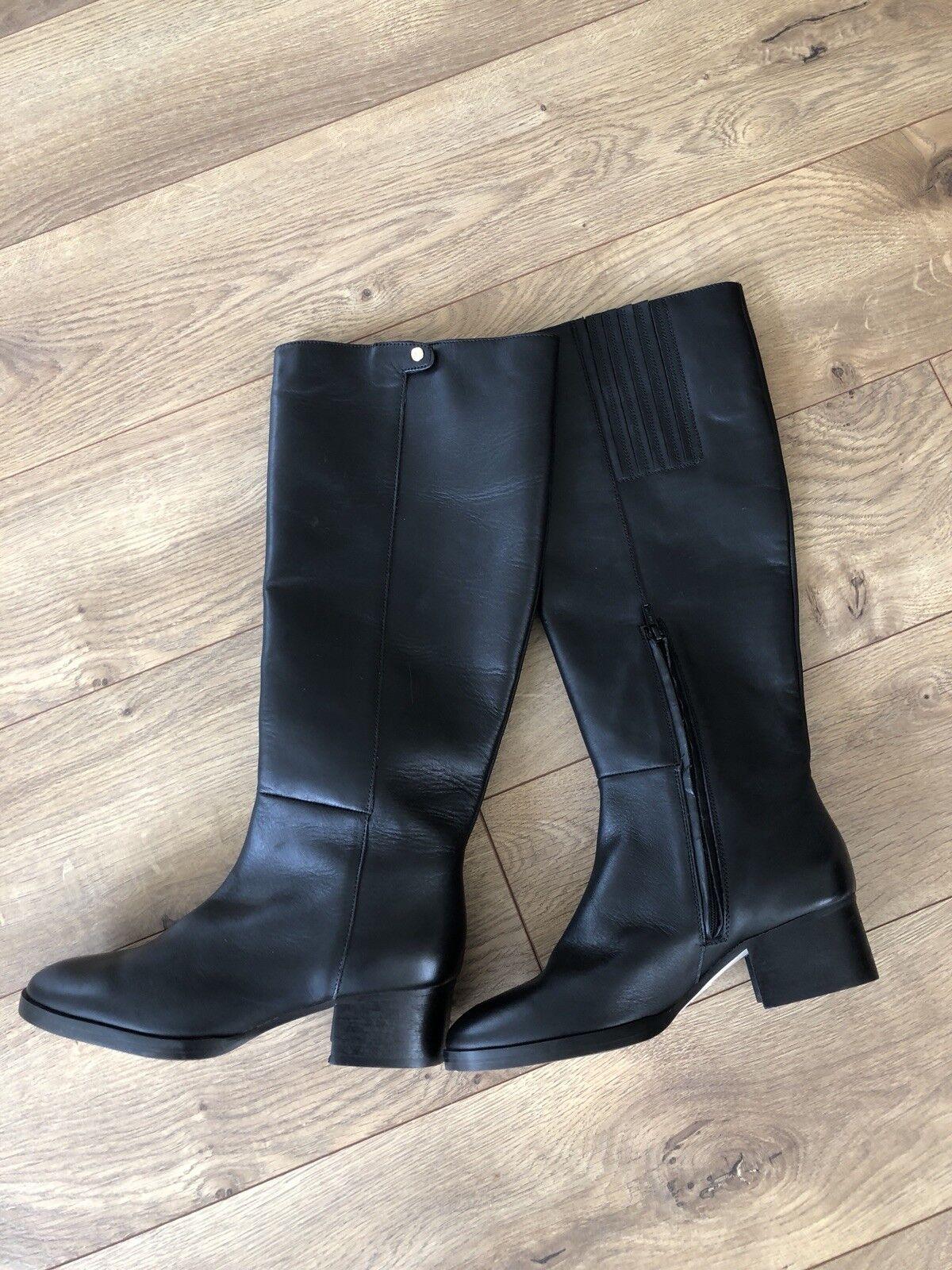 Jcrew  Cuero Rodilla botas Sz 6.5 Negro F6135 Bloque Tacones Zapatos De Invierno Nuevo