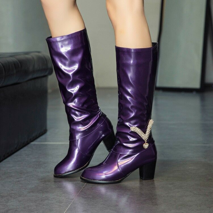 UK Womens Block High Heel Knee High Boots Patent Leather Stretch Boots shoes Size
