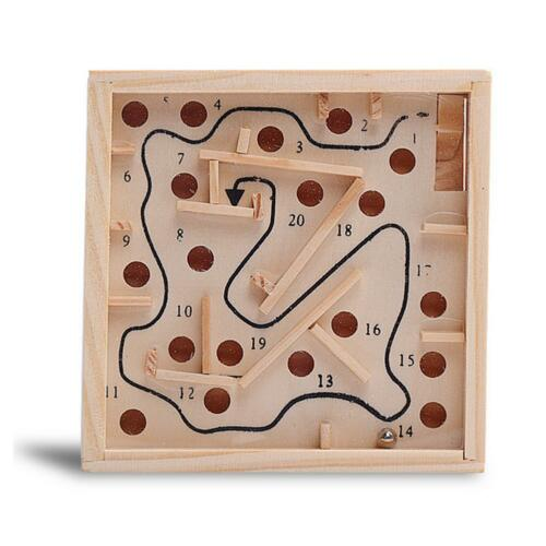Mini Wooden Labyrinth Board Game Ball In Maze Puzzle Handcrafted Toys GA
