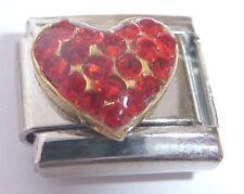 HEART Italian Charm - Red Gems I Love You fits 9mm Classic Starter Bracelets Gem