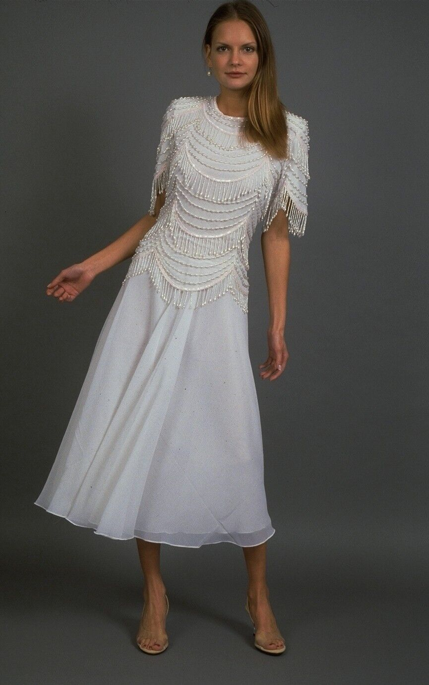 THE EVENING STORE - NWT - COLETTE (SKU2416) Off-White Beaded Plus Size Gown