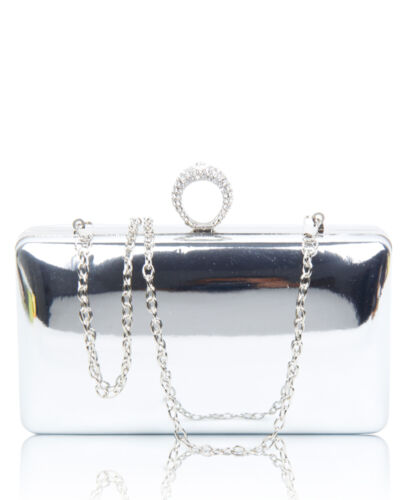 New Women Silver Crytal Clutch Bag Ladies Evening Party Bridal Prom Handbag