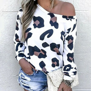 Womens Leopard Long Sleeve Sweatshirt Tops Off Shoulder Casual Pullover Blouse