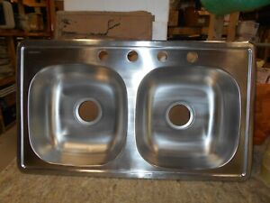 Details About Mobile Home Rv 33 X 19 6 Deep Stainless Steel Double Kitchen Sink Freeship