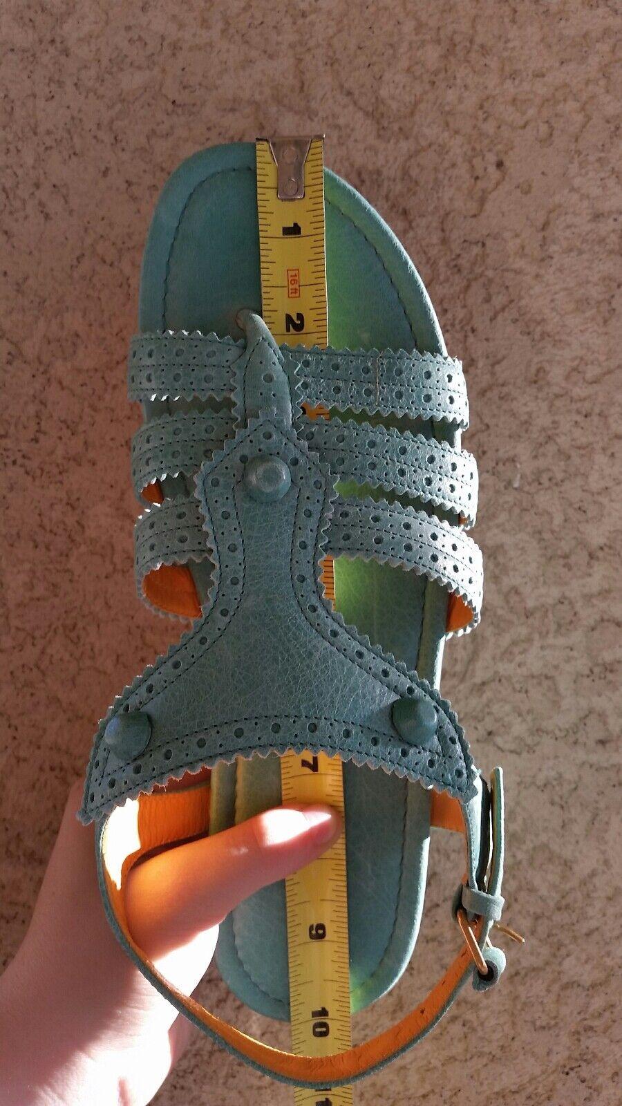 NWT  Balenciaga 40C EU(9.5B EU(9.5B EU(9.5B C) US Leather Gladiator Turquoise Sandals Orig.575  67513e
