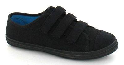 Damas Spot on Flat Casual Riptape Fijación Blanco Entrenadores Zapatos De Lona F8518