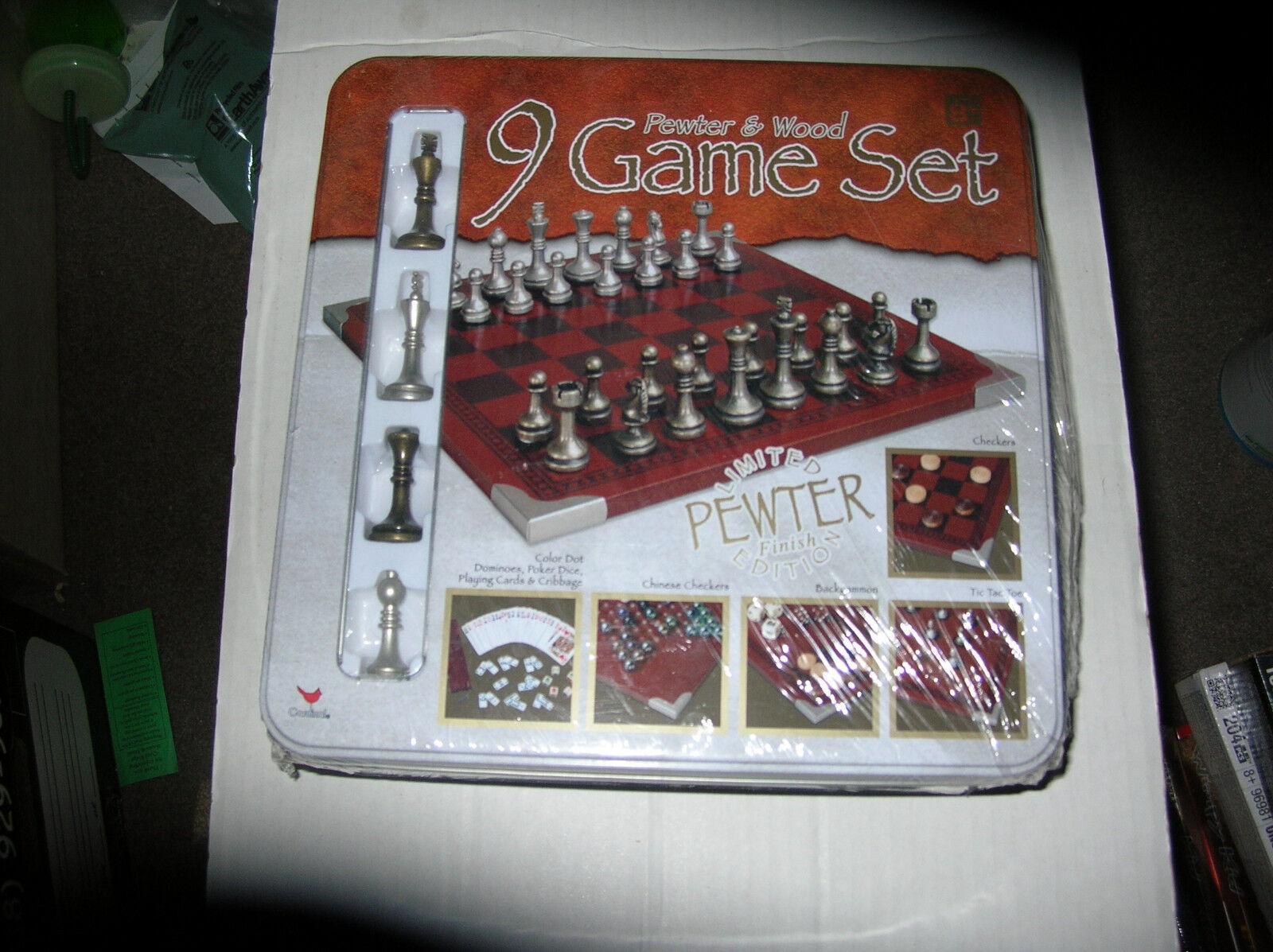 Pewter & Wood 9 Game Set Tin NEW SEALED