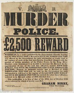australian history wanted ned kelly reward poster print police