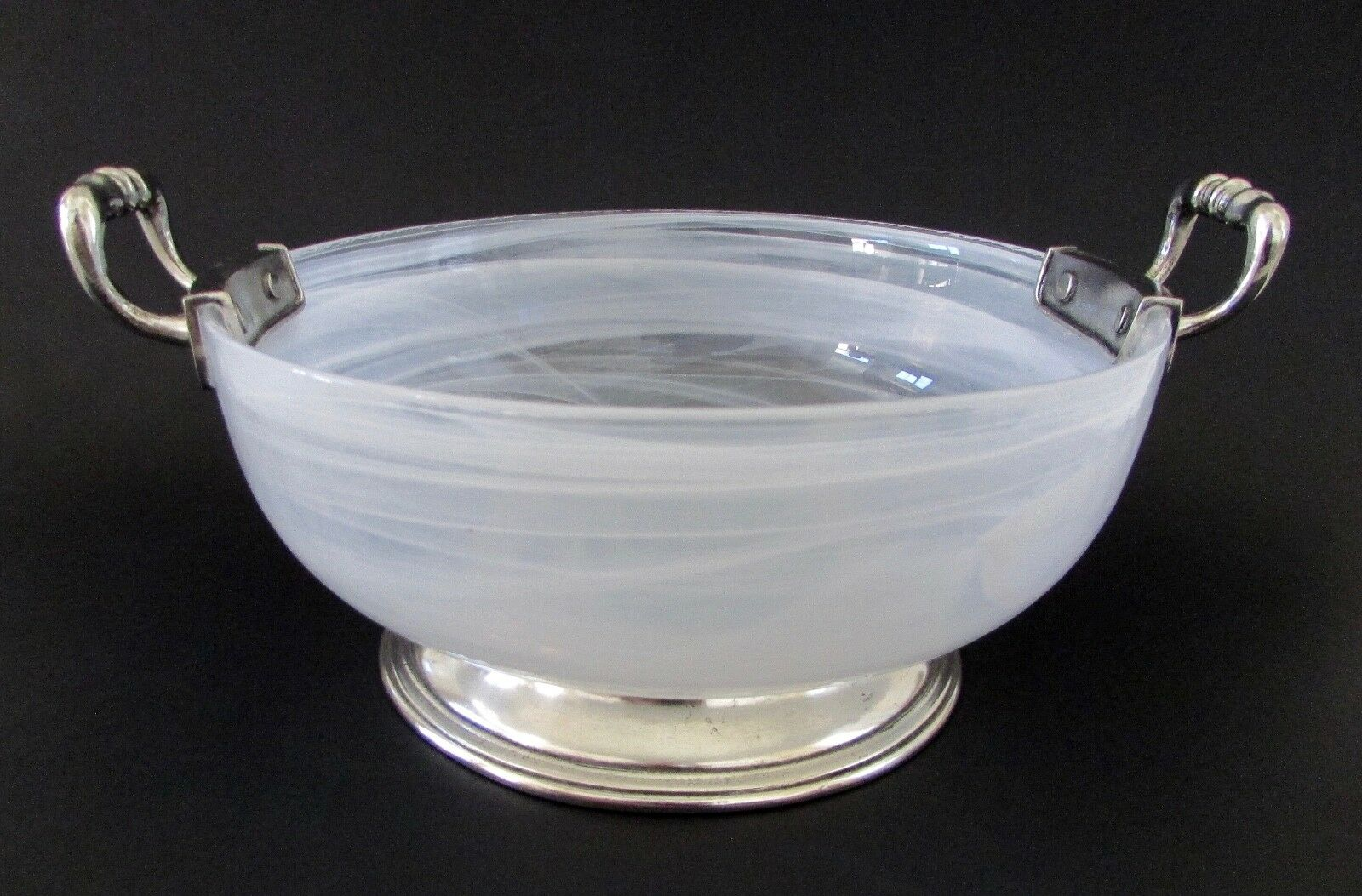 NEW Arte Italica Volterra Glass & Pewter Medium Bowl w  Handles Made in