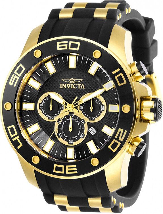 Invicta Men's Pro Diver Chrono 100m Gold-Tone S. Steel Silicone Watch 26086   Ebay
