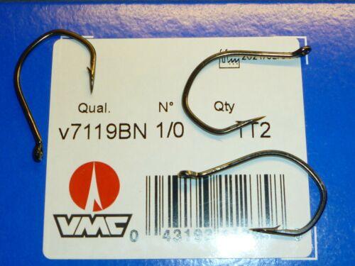 SIZE 1//0 VMC 7119BN DROP SHOT HOOKS 100 BLACK-NICKEL 7119 BN BULK