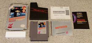 Metroid-Nintendo-NES-Game-Complete-CIB-Five-5-Screw-w-Box-Poster-amp-Manual-Lot