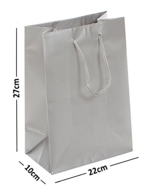 Groß Silber Laminiert Glänzend Beutel Seil Griff Geburtstagsgeschenk 22x10x27cm
