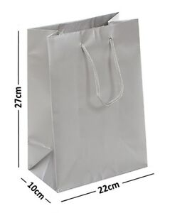 Image Is Loading LARGE SILVER LAMINATED GLOSS BAGS ROPE HANDLE BIRTHDAY
