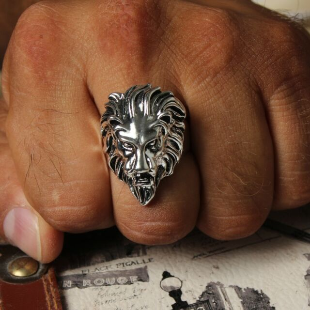 3D Edelstahl Ring Löwe Löwenkopf Lion Biker Kelten