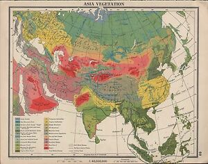 Plateau Of Tibet On Map Of Asia.1939 Map Asia Vegetation Tibetan Plateau Desert Monsoon Forest