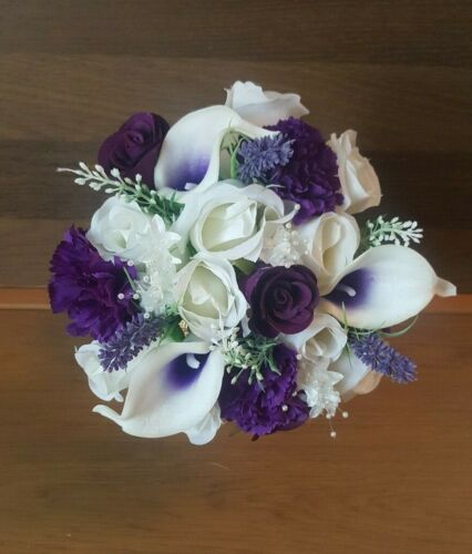 Wedding Flowers Ivory and Purple Bridal Bouquets.Flower Girl Basket.Corsage