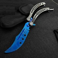 CSGO BLUE SLAUGHTER Practice Knife Balisong Butterfly Tactical Combat Trainer