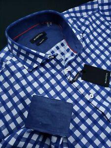 Bugatchi-Classic-Fit-Buffalo-Check-Sport-Shirt-Navy-Blue