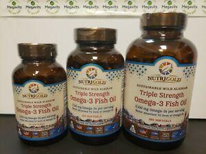 CHOOSE ONE: NutriGold Triple Strength Omega-3 Fish Oil 60, 120, OR 180 Softgels