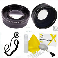 Wide Angle Lens + Zoom Lens + Cleaning Kit For Canon Eos 20d 40d 450d 500d 40d