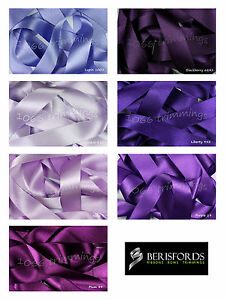 Double-Satin-Ribbon-Berisfords-Purple-Lilac-Shades-Short-Lengths-and-Full-Reels