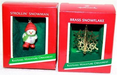 1989 Hallmark Miniature Ornament Strollin/' Snowman NIB NEW IN BOX