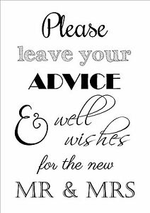 Image Is Loading Wedding Day Advice Well Wishes Table Sign Bride