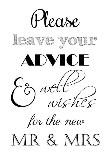Wedding Day Advice Well Wishes Table Sign Bride Groom Vintage A4
