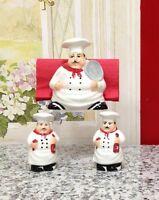 Chef Napkin Holder, Salt And Pepper Shaker Set, New, Free Shipping on sale
