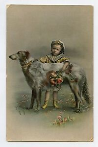 Joli-LEVRIER-Chien-et-enfant-Dorure-Greyhound-Dog-and-child-Gilding