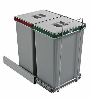 Pattumiera cucina sottolavello estraibile differenziata 2 cesti 48 litri PS-EC ì