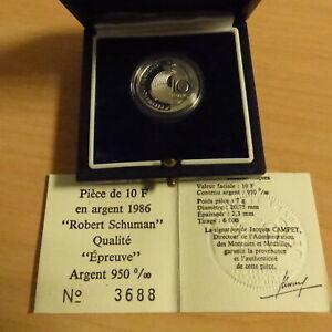 France-10-Francs-Schuman-1986-PROOF-silver-95-7-g-Box-CoA