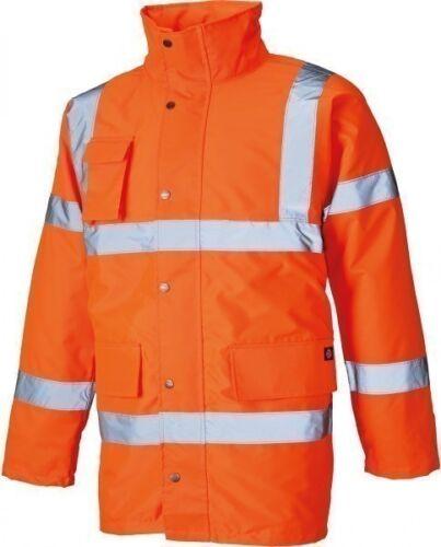 Dickies Hi-Vis Waterproof Motorway Jacket Orange Men/'s Work Coat Sizes S-XXXXL