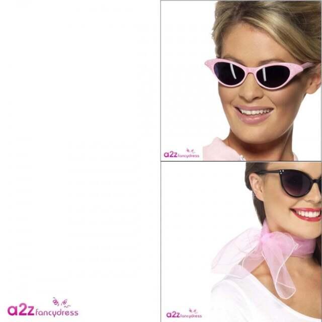 2954b9a3cceaf 50s Flyaway Sunglasses   Pink Chiffon Scarf Ladies Grease Fancy Dress  Accessory