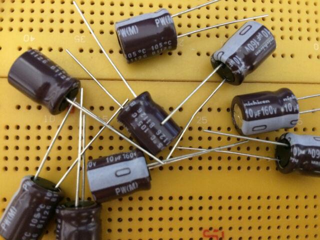 Condensateur 10 uF 160V Electrolytique Radial Nichicon Lot de 5