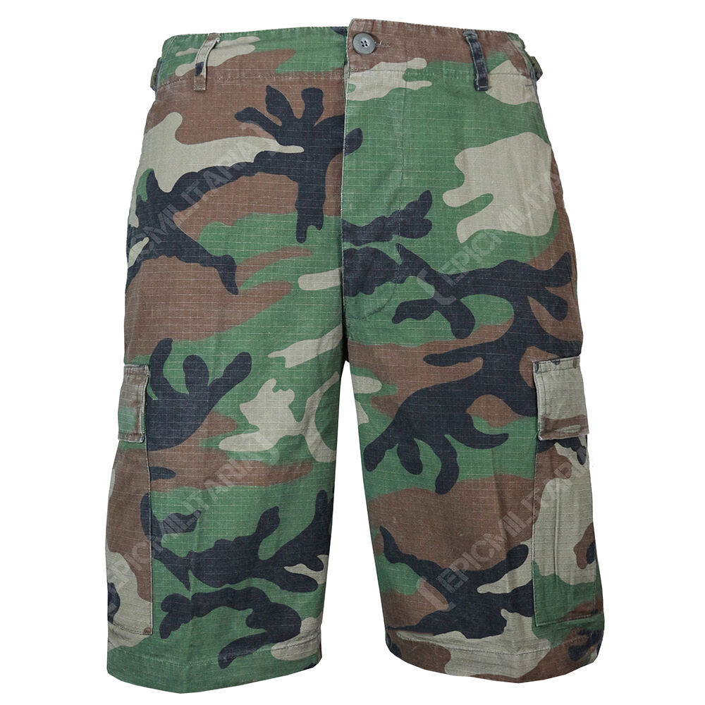 BDU Cargo Shorts in WOODLAND CAMO - All Sizes - Cotton RIPSTOP Combat Camouflage