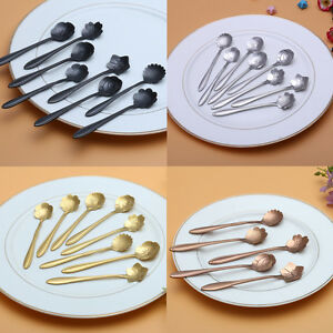 Novelty-Tea-Coffee-Sugar-Spoon-Flower-Garden-Handle-Cutlery-Silverware-Steel