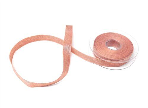 Metallic Thread or rose réversible Ruban 15 mm 4 longueurs *